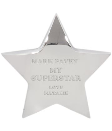 "My Superstar Silver Star Paperweight 10cm (4"")"