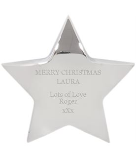 """Merry Christmas Silver Star Paperweight 10cm (4"""")"""