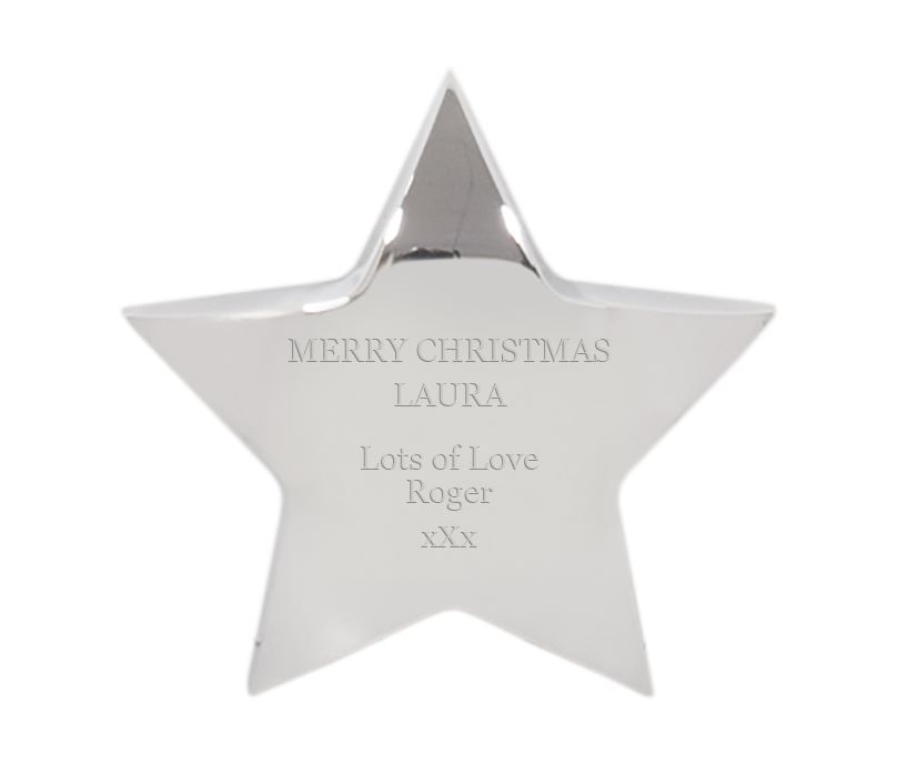"Merry Christmas Silver Star Paperweight 10cm (4"")"