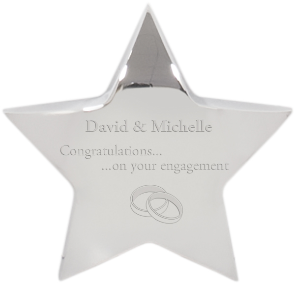 "Engagement Congratulations Silver Star Paperweight 10cm (4"")"