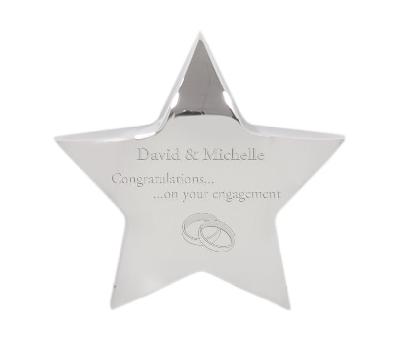 "Engagement Congratulations Silver Star Paperweight 9.5cm (3.75"")"