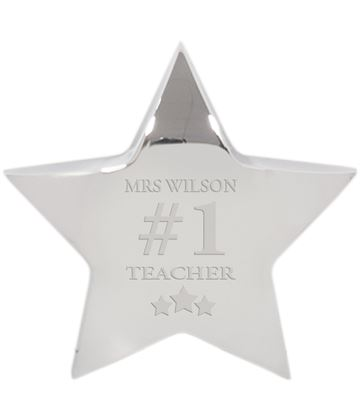 "Number One Silver Star Paperweight 10cm (4"")"