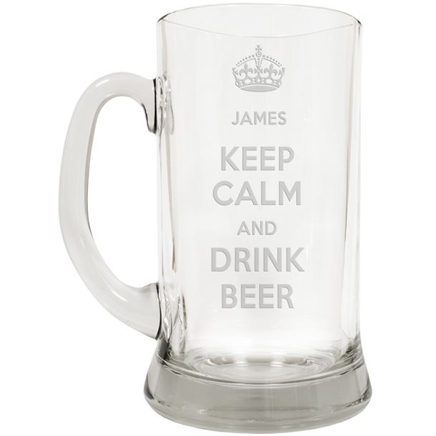 "Keep Calm & Drink Beer Large 2pt Glass Tankard 19.5cm (7.5"")"