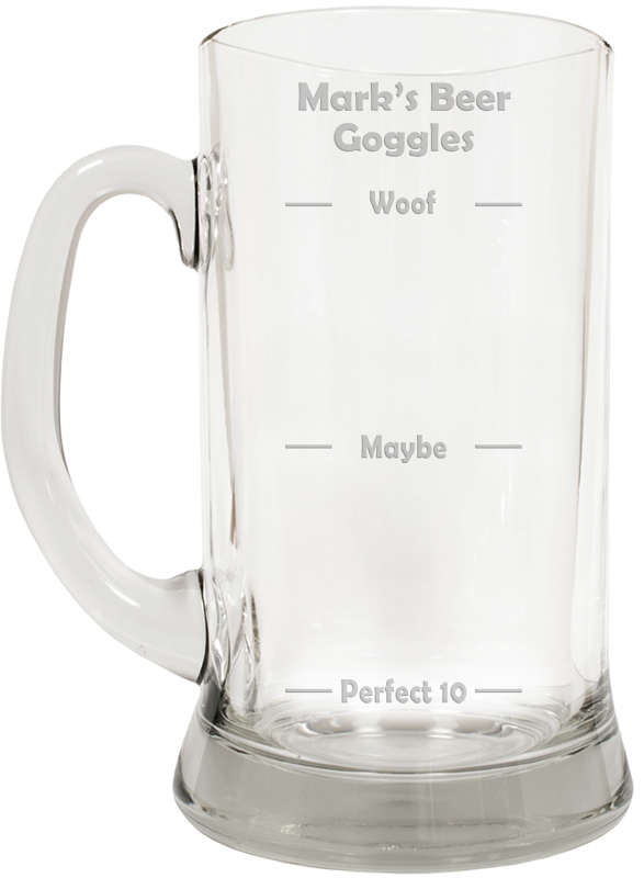 "Beer Goggles Novelty Large 2pt Glass Tankard 19.5cm (7.5"")"