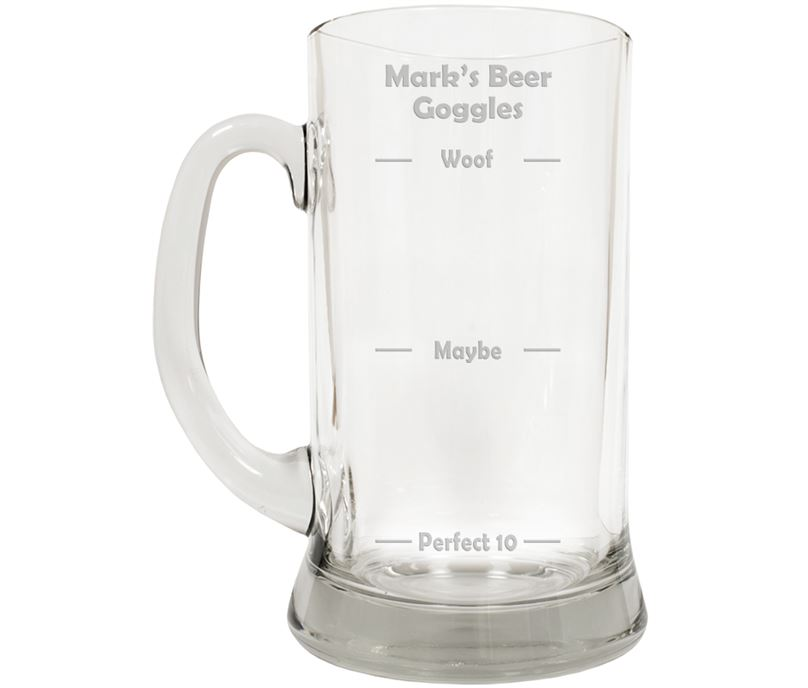 "Beer Goggles Novelty Large 2pt Glass Tankard 19.5cm (7.5"")"