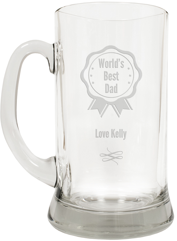 "World's Best Dad Large 2pt Glass Tankard 19.5cm (7.5"")"