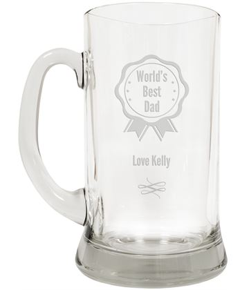 "World's Best Dad Large 2pt Glass Tankard 19.5cm (7.5"")"