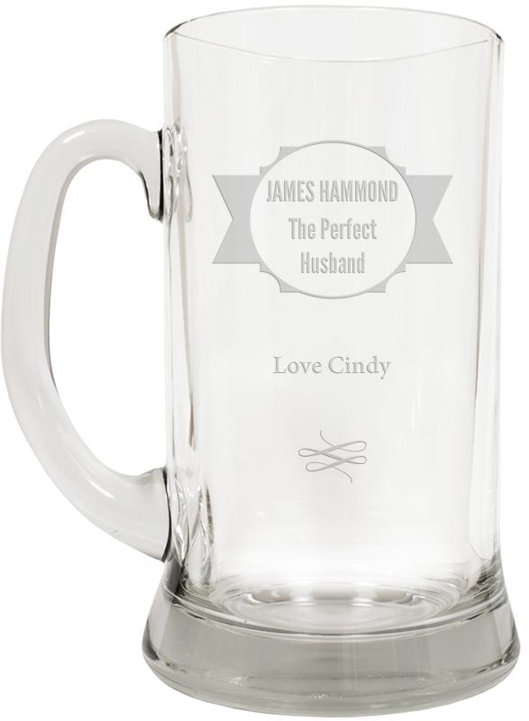 "The Perfect Husband Large 2pt Glass Tankard 19.5cm (7.5"")"