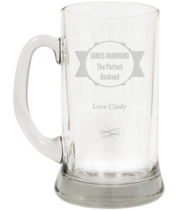 "The Perfect Husband Large 2pt Glass Tankard 19.5cm (7.5"")"