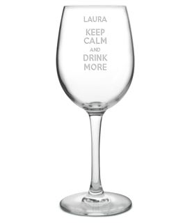 """Keep Calm & Drink More Large Personalised Wine Glass 20.5cm (8"""")"""