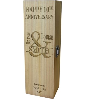 "Happy Anniversary Personalised Wine Box - Mr & Mrs Design 35cm (13.75"")"