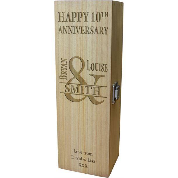 "Happy Anniversary Personalised Wine Box - Mr & Mrs Design 35cm (13.75"")"