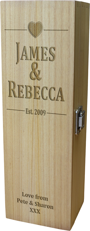 "Happy Anniversary Personalised Wine Box - Heart Design 35cm (13.75"")"