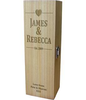 "Happy Anniversary Personalised Wine Box - Heart Design 35cm (13.75"")"