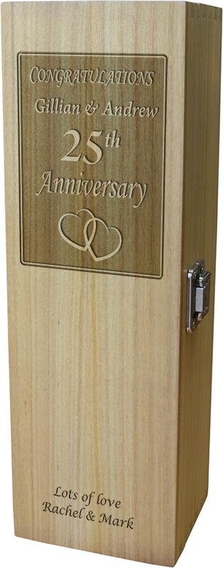 """Congratulations Happy Anniversary Wine Box - Heart Design 35cm (13.75"""")"""