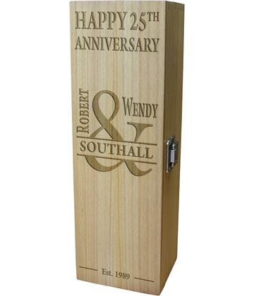"Mr & Mrs Happy Anniversary Personalised Wine Box 35cm (13.75"")"