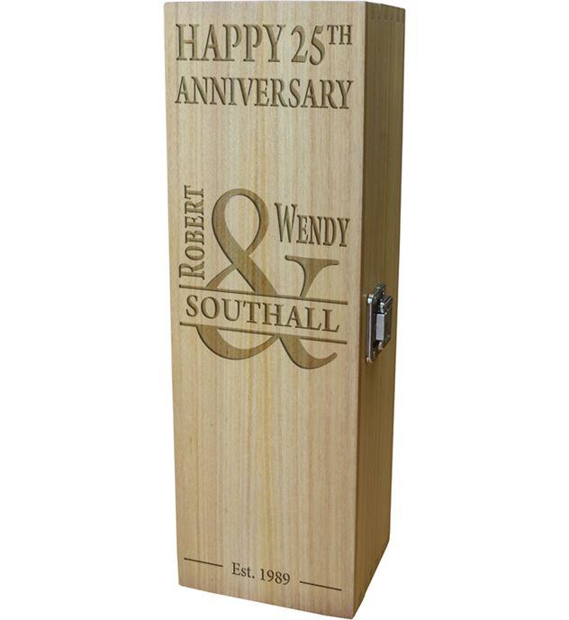 "Mr & Mrs Happy Anniversary Personalised Wine Box 35cm (13.75"")"