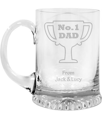 "No.1 Dad Cup Design Crystal Star Base Tankard 3/4pt 13cm (5.25"")"