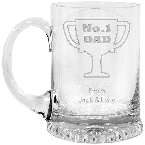"No.1 Dad Cup Design Crystal Star Base Tankard 3/4pt 13cm (5.25"")"