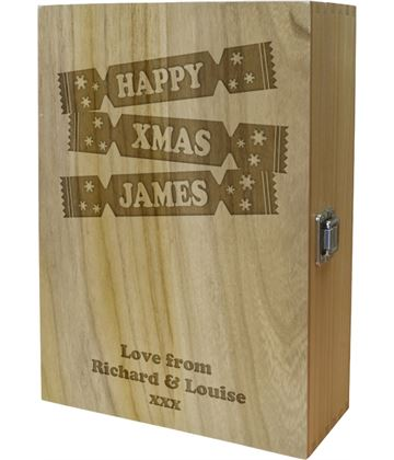 "Happy Xmas Cracker Double Wine Box - Cracker Design 35cm (13.75"")"