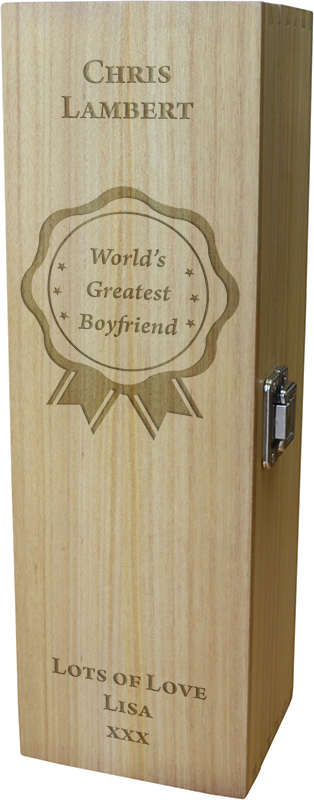 "World's Greatest Boyfriend Wine Box - Rosette Design 35cm (13.75"")"