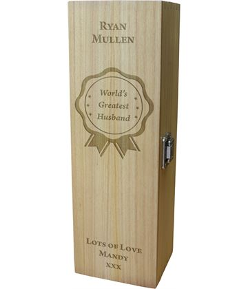 "World's Greatest Husband Wine Box - Rosette Design 35cm (13.75"")"