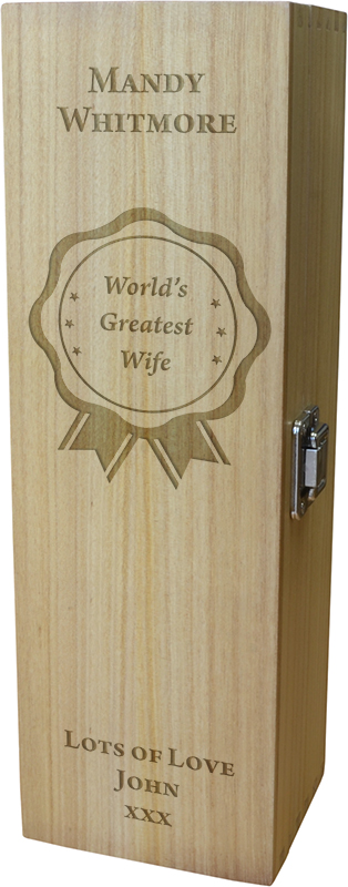 "World's Greatest Wife Wine Box - Rosette Design 35cm (13.75"")"