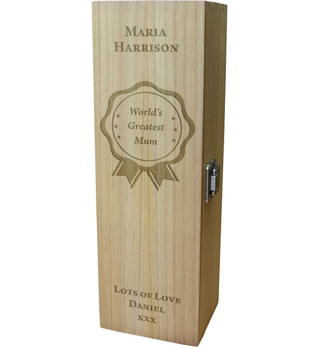 "World's Greatest Mum Wine Box - Rosette Design 35cm (13.75"")"