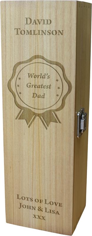 "World's Greatest Dad Wine Box - Rosette Design 35cm (13.75"")"