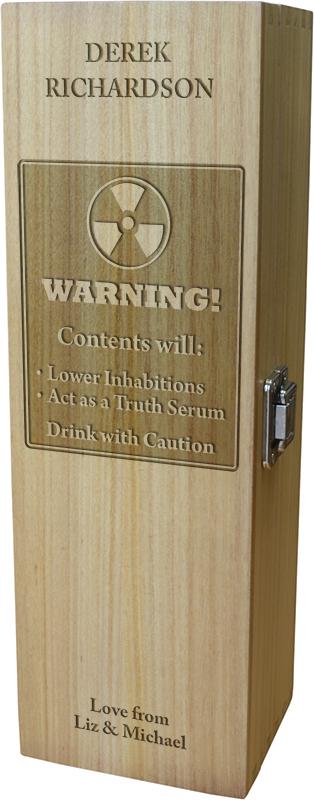 "Warning Hazardous Contents Design Wine Box 35cm (13.75"")"