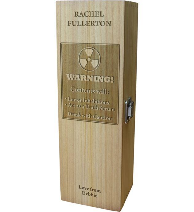 "Warning Hazardous Contents Personalised Wine Box 35cm (13.75"")"