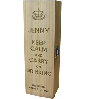 """Keep Calm & Carry on Drinking Personalised Wine Box 35cm (13.75"""")"""