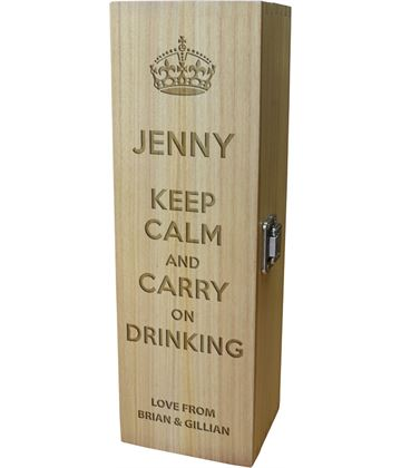 "Keep Calm & Carry on Drinking Personalised Wine Box 35cm (13.75"")"