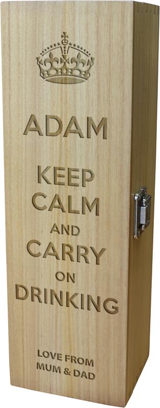 "Keep Calm & Carry on Drinking Design Wine Box 35cm (13.75"")"