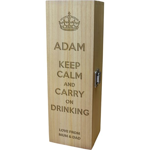 "Keep Calm & Carry on Drinking Design Wine Box 35cm (13.75"")"