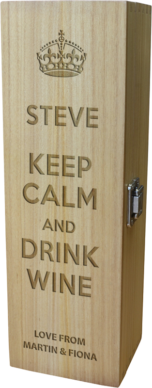 "Keep Calm & Drink Wine Design Wine Box 35cm (13.75"")"