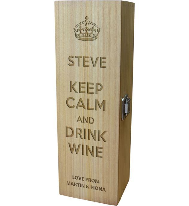 "Keep Calm & Drink Wine Design Wine Box 35cm (13.75"")"