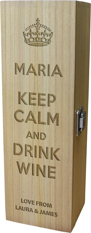 "Keep Calm & Drink Wine Personalised Wine Box 35cm (13.75"")"