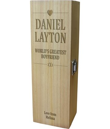 "World's Greatest Boyfriend Wine Box - Heart Design 35cm (13.75"")"