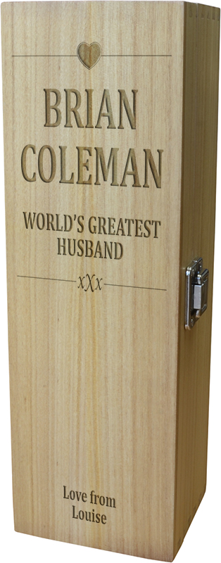 "World's Greatest Husband Wine Box - Heart Design 35cm (13.75"")"