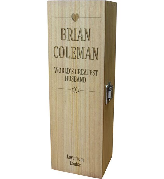 "World's Greatest Husband Wine Box - Heart Design 35cm (13.75"")"