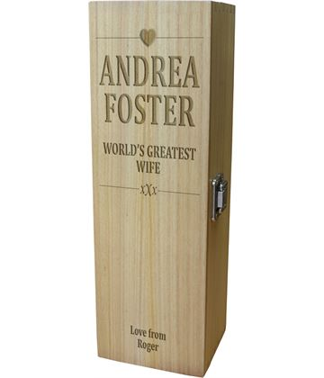 "World's Greatest Wife Wine Box - Heart Design 35cm (13.75"")"