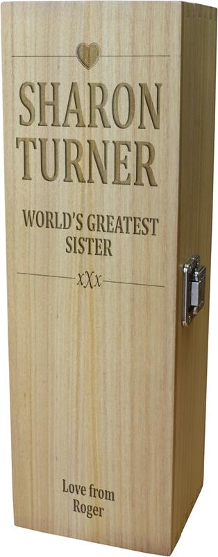 "World's Greatest Sister Wine Box - Heart Design 35cm (13.75"")"