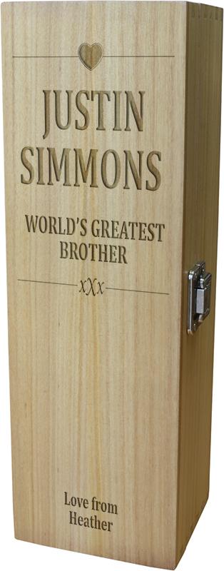 "World's Greatest Brother Wine Box - Heart Design 35cm (13.75"")"