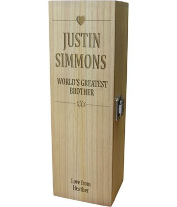 "World's Greatest Brother Wine Box - Heart Design 35cm (13.75"")"