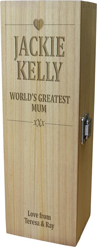 "World's Greatest Mum Wine Box - Heart Design 35cm (13.75"")"
