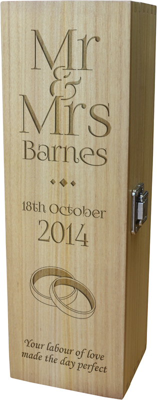"""Personalised Wooden Wine Box with Hinged Lid - Wedding Mr & Mrs 35cm (13.75"""")"""