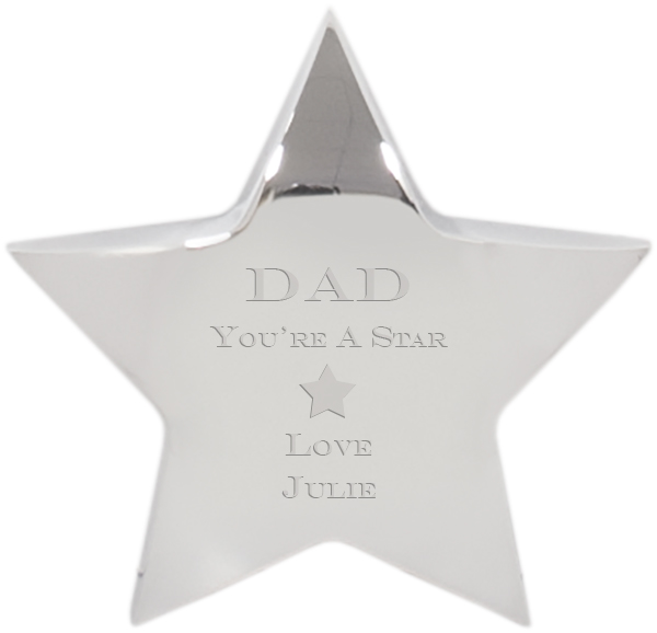 "You're A Star Silver Star Paperweight - For Him 10cm (4"")"
