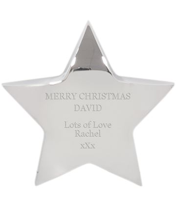 "Merry Christmas Silver Star Paperweight - For Him 10cm (4"")"