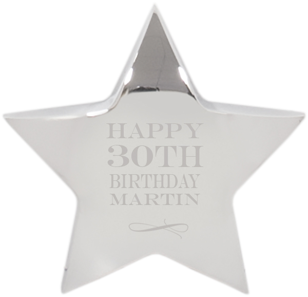 "Happy Birthday Silver Star Paperweight - For Him 10cm (4"")"